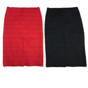 Set of 2 NY&Co Red Black Stretch Bodycon Skirt